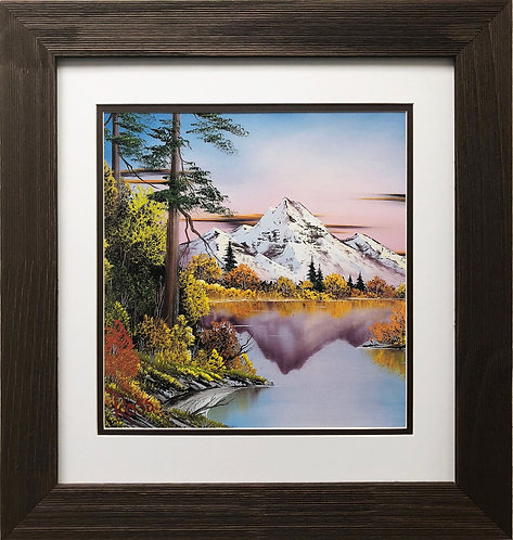 "Bob Ross ""Autumn Glory"" Happy Trees CUSTOM FRAMED ART Nature  Print Mountain"