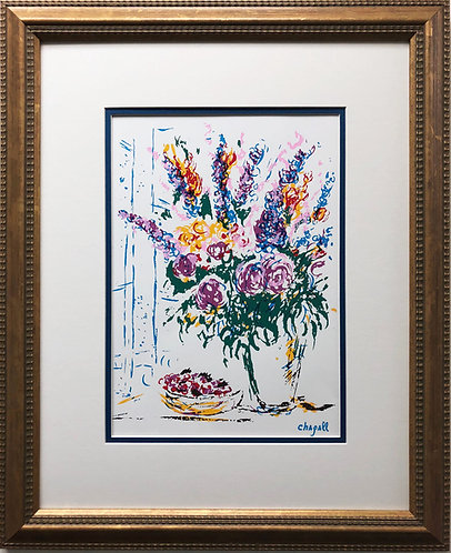 "Marc Chagall ""Floral Still Life"" Newly CUSTOM FRAMED Rare Offset Serigraph"