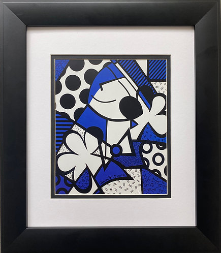 """Romero Britto """"Untitled"""" (Black and Blue) FRAMED Plate Signed Pop Art"""