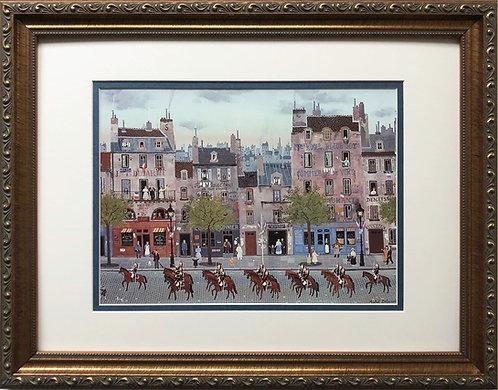"Michel Delacroix ""Le Garde Republicaine""  CUSTOM FRAMED Paris Street Scene"