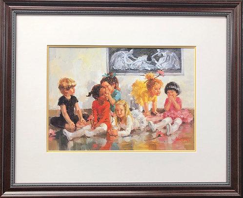 """Corinne Hartley """" Break Time"""" Custom Framed Children Art  Dance Ballet New"""