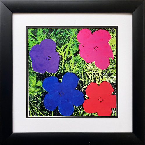 "Andy Warhol ""Flowers"" (Purple,Blue, Pink,Red) CUSTOM FRAMED Pop Art Litho"