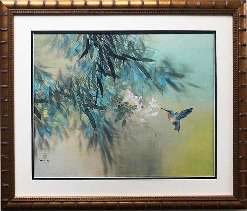 """David Lee """"Hummingbird"""" New Custom Framed Art"""