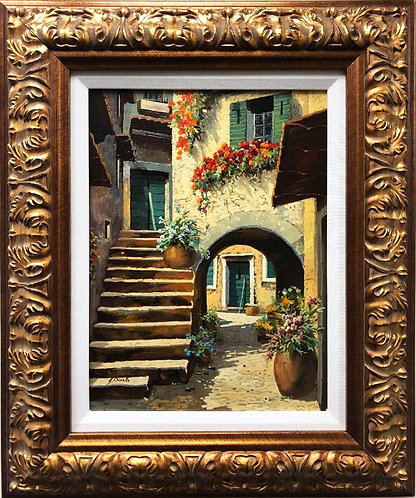 """Guido Borelli """"Arco and Scale"""" HAND SIGNED ORIGINAL OIL FRAMED ART"""