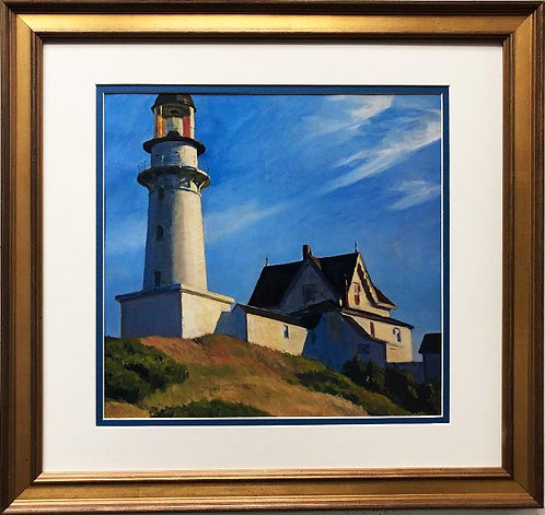 "Edward Hopper ""The Lighthouse at Two Lights"" New CUSTOM FRAMED Art"