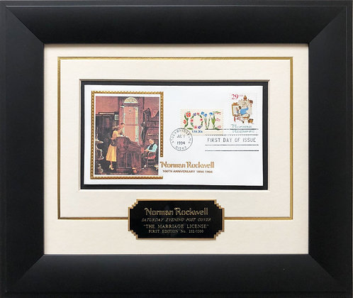 """Norman Rockwell """"The Marriage License"""" First Day Stamp Limited Edition Framed Ar"""