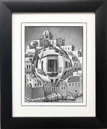 "M.C.Escher ""Balcony"" 1945 CUSTOM FRAMED Art"