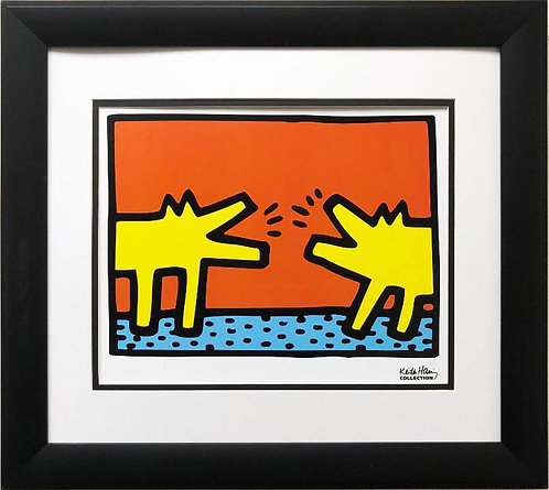 "Keith Haring ""Untitled, 1989 (Dogs) "" CUSTOM FRAMED Print"