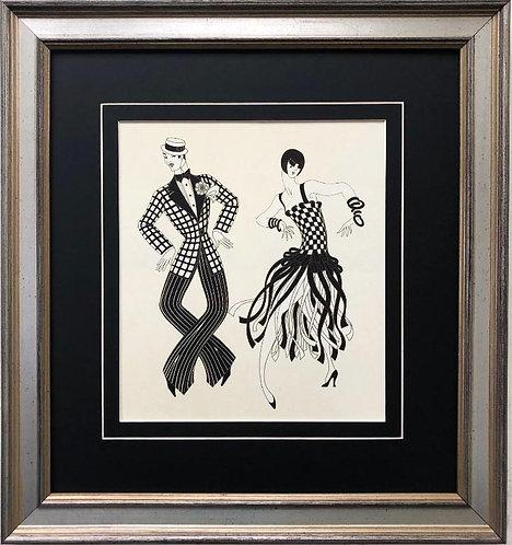 """Erte """"Charleston Couple"""" CUSTOM FRAMED Vintage Print"""