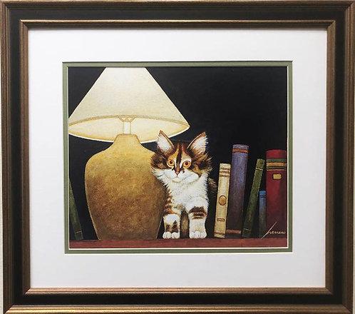 "Lowell Herrero ""In the Library"" New FRAMED Americana Art"