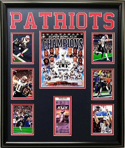 Patriots Superbowl XLIL Framed Collage