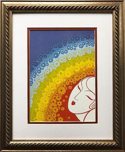 """Erte """"Rainbow in Blossom"""" CUSTOM FRAMED Print"""
