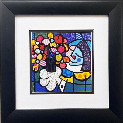 "Romero Britto ""Flowers For You"" 1995 CUSTOM FRAMED Pop Art"