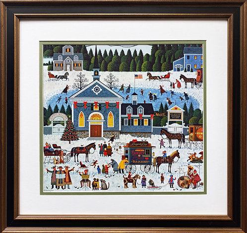 "Charles Wysocki ""Churchyard Christmas"" New CUSTOM FRAMED Art"