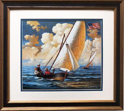 "Charles Wysocki ""Breezing Along"" New CUSTOM FRAMED Primitive Art"