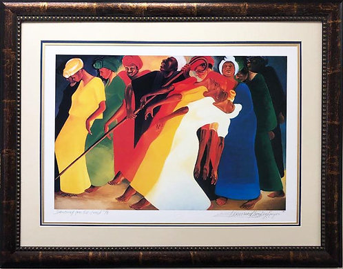 "Bernard Stanley Hoyes ""Dancing for the Lord"" FRAMED Signed African American Art"
