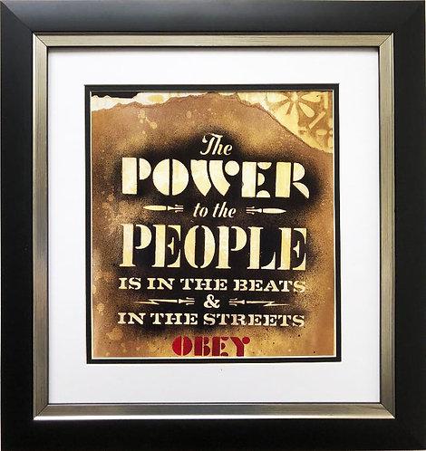 "Shepard Fairey ""Power to the People"" CUSTOM FRAMED Art Print"