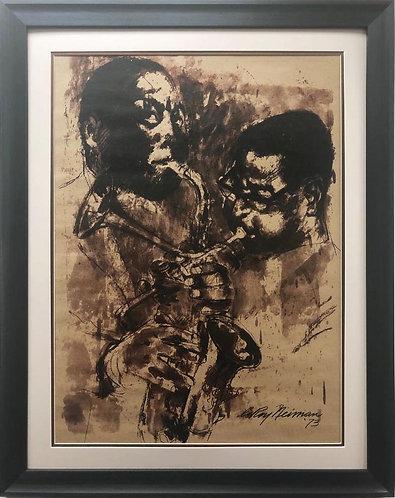 "LeRoy Neiman ""The Bebop Era- Bird and Diz "" Custom Framed Art"