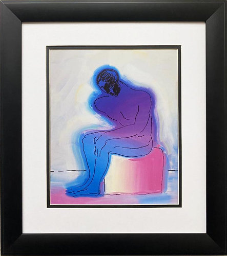 "Peter Max ""Artist Series'92 The Thinker "" New CUSTOM FRAMED Print"