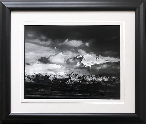 "Ansel Adams ""Moon and Denali"" Alaska Custom Framed NEW ART photo Mountain Range"
