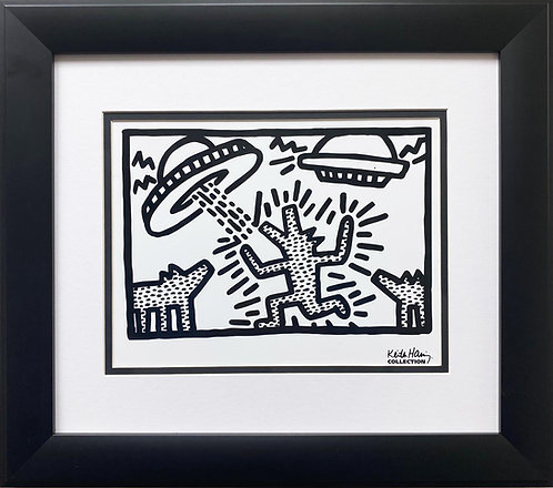 """Keith Haring """"Untitled"""" (Dogs with UFOs) CUSTOM FRAMED Pop Art Plate Signed"""
