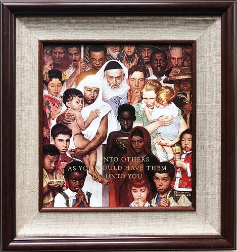 "Norman Rockwell ""Do Unto Others - Golden Rule"" FRAMED Art"