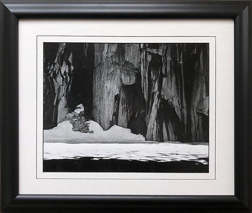 "Ansel Adams ""Frozen Lakes & Cliffs"" Custom Framed NEW ART Kaweah Black and White"