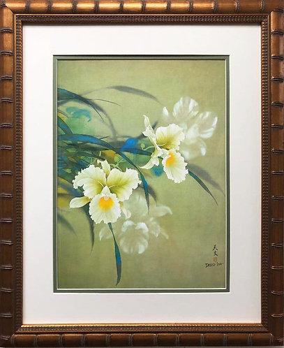 """David Lee """"White Orchid"""" New  Custom Framed Art"""