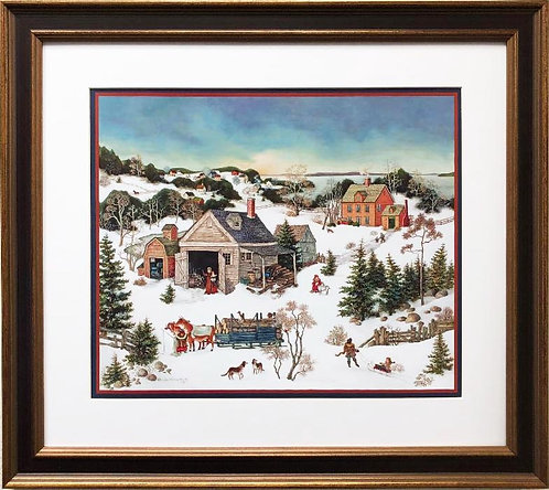"Linda Nelson Stocks ""Log Sleigh Winter"" FRAMED Art"