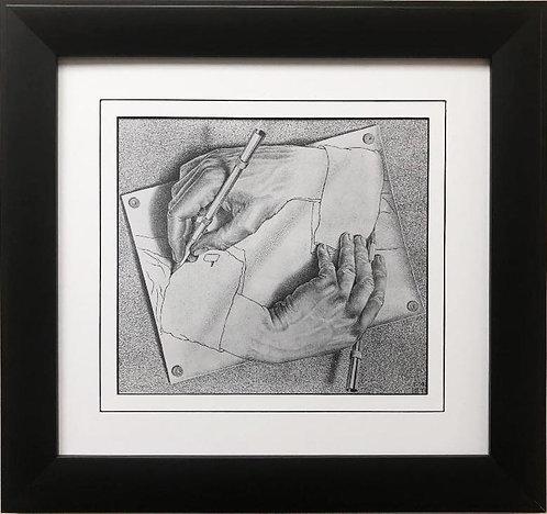 """M.C.Escher """"Drawing Hands"""" CUSTOM FRAMED Art"""