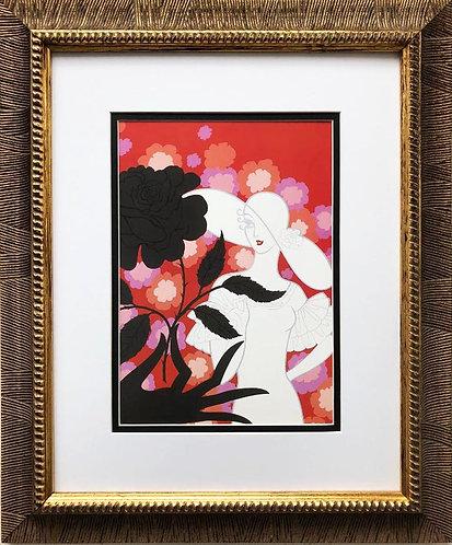 """Erte """"Black Rose"""" CUSTOM FRAMED Print"""
