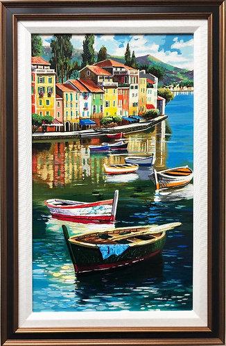 """Anatoly Metlan """"Fisherman Village"""" Framed Hand Signed & # Embellished Art"""
