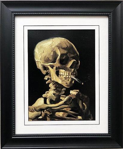"""Vincent Van Gogh """" Head of Skeleton with Burning Cigarette"""" Framed Art"""