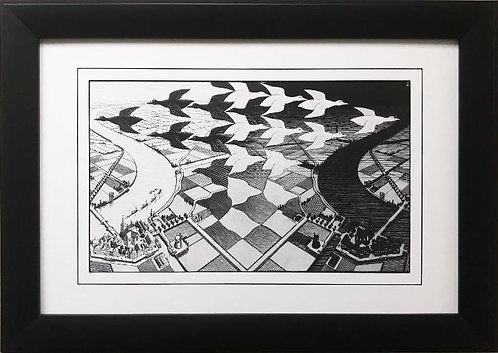 "M.C.Escher ""Day and Night"" CUSTOM FRAMED Art"
