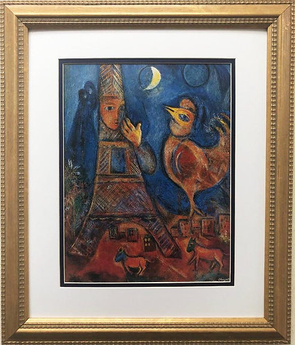 "Marc Chagall ""Bonjour Paris"" New FRAMED Art Rare Poster"