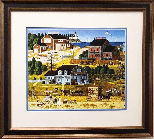 """Charles Wysocki """"Salty Witch Bay"""" New CUSTOM FRAMED Art"""