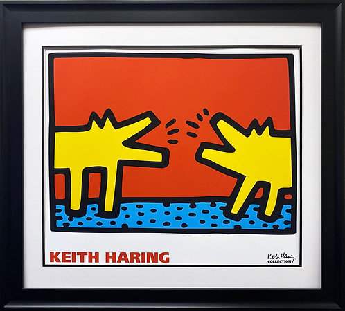 """Keith Haring """"Untitled 1989 Dogs"""" FRAMED Pop Art Litho (Lg)"""