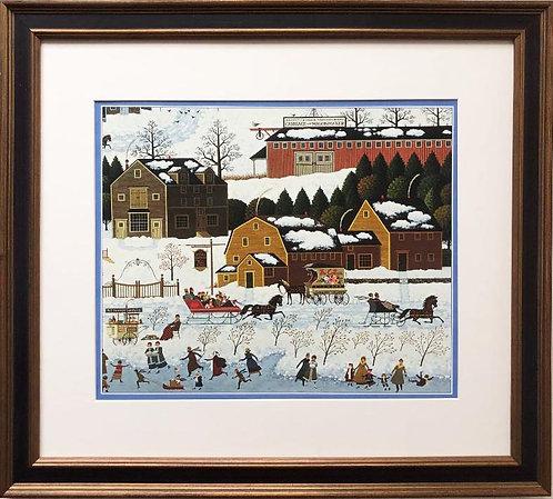 "Charles Wysocki ""Hickory Haven Canal"" New CUSTOM FRAMED Art"