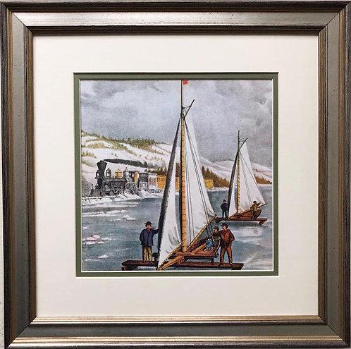 "Currier and Ives ""Ice Boat Race on the Hudson River"" Custom Framed Art"