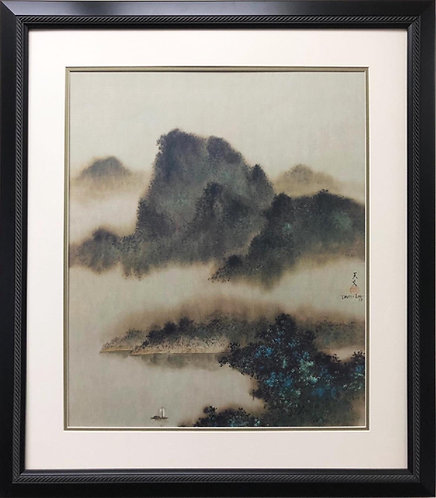 "David Lee ""Tranquility"" Custom Framed Asian Art"