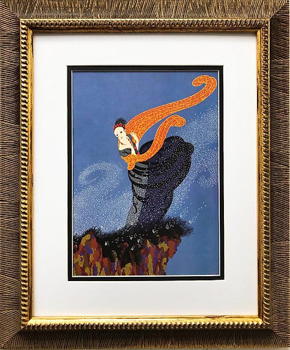 "Erte ""Summer Breeze"" CUSTOM FRAMED Print Art"