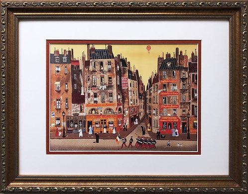 "Michel Delacroix ""Parade""  CUSTOM FRAMED Primitive Art Paris France Cafe"