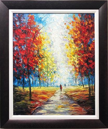 """Hudson Moore """"Stroll in the Park"""" Framed Signed Oil"""