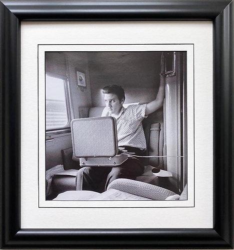 "Elvis Presley ""Listening to his Record, NY to TN"" Framed Litho Art"