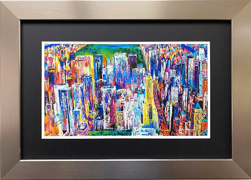 "LeRoy Neiman ""Manhattan Panorama"" CUSTOM FRAMED Art"