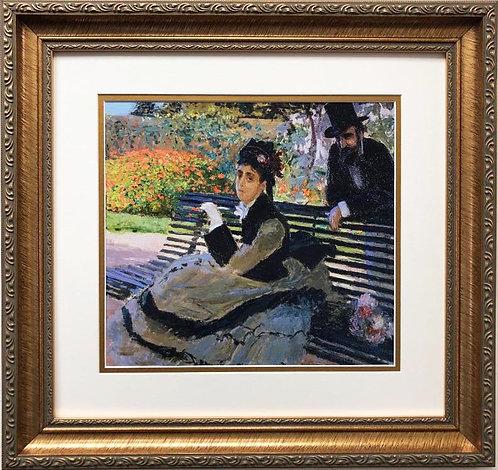 """Claude Monet """"Camille Monet on a Garden Bench"""" FRAMED ART"""
