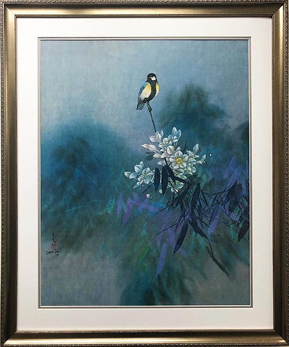 "David Lee ""Perched"" Custom Framed Asian Art"