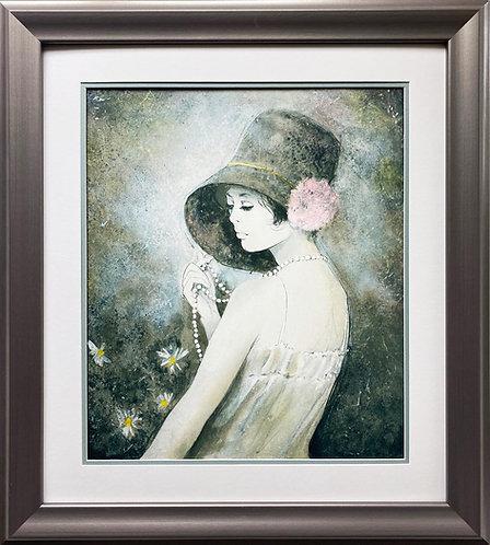 "Bernard Charoy ""Girl With Flowers"" NEWLY CUSTOM FRAMED 1979 NY Exhinition Poster"