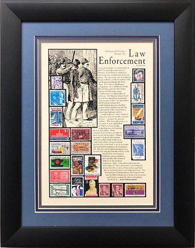 """Stamps """"Law Enforcement Collection"""" (lg) Framed Stamp Art"""