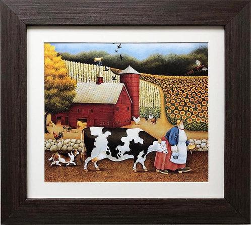 """Lowell Herrero """"Going to Milking"""" New CUSTOM FRAMED Americana Art"""